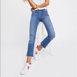 Free People High Rise Crop Flare Raw Hem Jeans